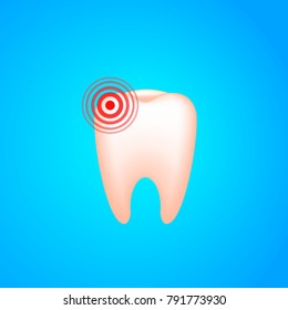 Toothache. A tooth with dental caries and pain. Vector realistic illustration