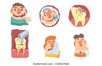 Toothache And Visit To Dental Clinic, Funny Cartoon Characters Illustration Set Isolated On White Background