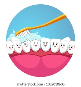 Toothbrush brushing smiling teeth characters in mouth. Tooth brushing inside mouth view. Teeth hygiene concept. Toothpaste foam. Flat vector illustration isolated on white background