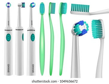 Toothbrush dental mockup set. Realistic illustration of 9 toothbrush dental mockups for web