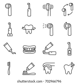 Toothbrush icon set. Teeth cleaning.Electric or conventional toothbrushes. Line with editable stroke.Collection of linear icons