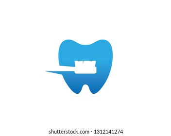 Toothbrush inside a tooth to care and whitening in clinic for logo design