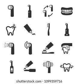 Toothbrush, monochrome icons set. cleaning.Electric or conventional toothbrushes, simple symbols collection