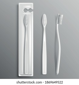 Toothbrush package mockup, dental care and oral hygiene stomatological products, toiletries packing white templates, tooth brush isolated on grey background. Realistic 3d vector illustration, mock up