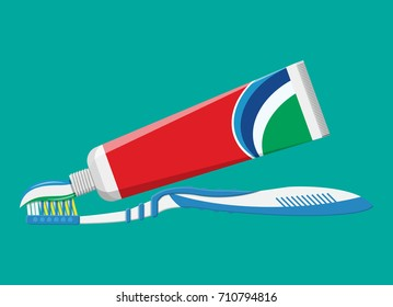Toothbrush, toothpaste. Brushing teeth. Dental equipment. Hygiene and oralcare. Vector illustration in flat style