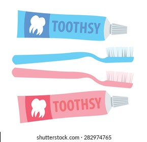 Toothbrush and toothpaste colorful vector