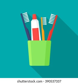 Toothbrush, toothpaste in a glass isolated on white background flat illustration.