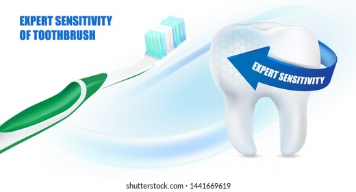 Toothbrush and white teeth isolated on solid color background ads, Realistic vector 3d illustration, Of free space for your texts and branding.