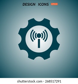 Toothed setting controls via wi-fi network. icon. vector design