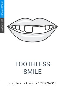 Toothless smile icon. Icon with outline style and editable stroke.