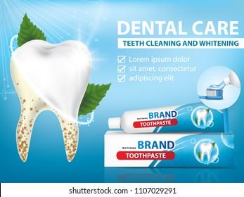 Toothpaste for dental care banner vector illustration