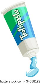 Toothpaste in green and blue tube illustration