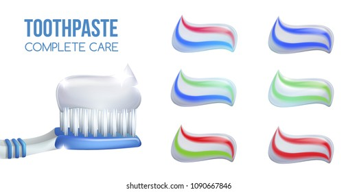 Toothpaste smear set. Dental concept .Blue plastic toothbrush with  colored toothpaste.3D, realistic, Dental design element for advertising, brochures, banners ,vector illustration