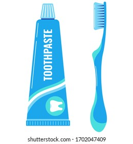 Toothpaste and toothbrush vector icon set isolated on white background. Flat design cartoon style dental care signs for web design. Bathroom personal hygiene icons.