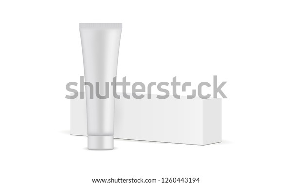 Toothpaste Tube Cardboard Box Mockup Isolated Stock Vector Royalty Free 1260443194