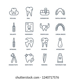 Toothpaste tube, Tweezers, White teeth, Wisdom tooth, Apicoectomy, Occlusal, Sealants, Intraoral, Prophylaxis outline vector icons from 16 set