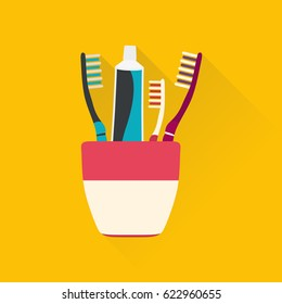 Toothpaste tubes and toothbrush. Hygiene and cleaning teeth. Vector illustration.