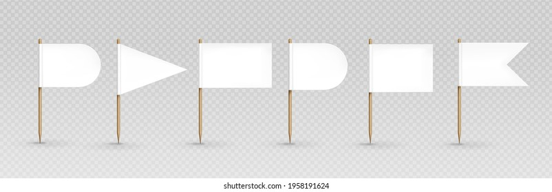 Toothpick flags, white banners of different shapes on wooden pointed sticks. Oval, triangular, rectangular and double edge pennants isolated on transparent background, Realistic 3d vector icons set