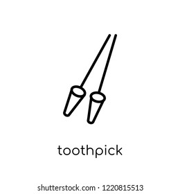toothpick icon. Trendy modern flat linear vector toothpick icon on white background from thin line Hygiene collection, outline vector illustration