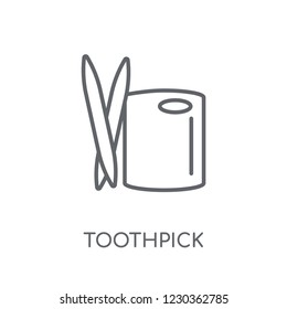 Toothpick linear icon. Modern outline Toothpick logo concept on white background from Hygiene collection. Suitable for use on web apps, mobile apps and print media.