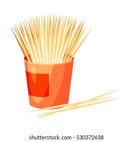 Toothpicks icon in cartoon style isolated on white background. Dental care symbol vector illustration.