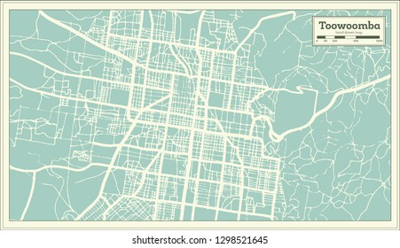 Toowoomba Australia City Map in Retro Style. Outline Map. Vector Illustration.