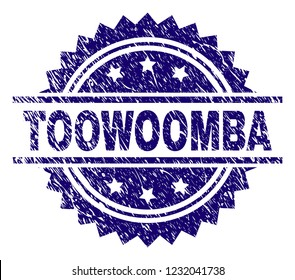 TOOWOOMBA stamp seal watermark with distress style. Blue vector rubber print of TOOWOOMBA text with dirty texture.