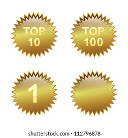 Top 10, Top 100 and number 1. Blank shiny golden badge.