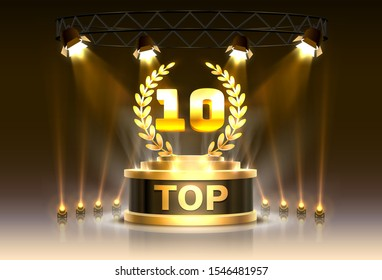 Top 10 best podium award sign, golden object. Vector illustration