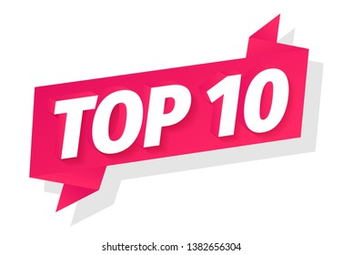 Top 10. Best ten list. 3D red word on pink ribbon. Winner tape award text title. Vector color Illustration clipart.