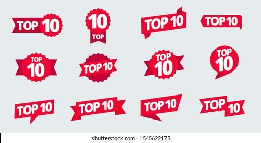 Top 10 heading title set. Best ten list. Word on ribbon. Winner tape award text title.