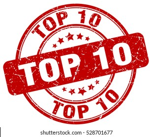 top 10. stamp. red round grunge vintage top 10 sign