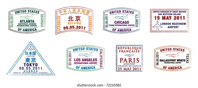 The top 10 world's busiest airports passport stamps in vector format.