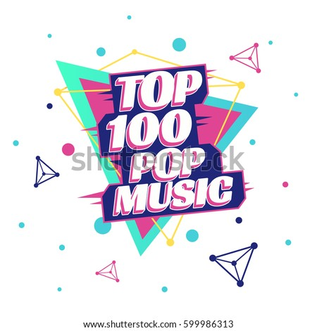 top 100 pop music poster template のベクター画像素材 ロイヤリティ