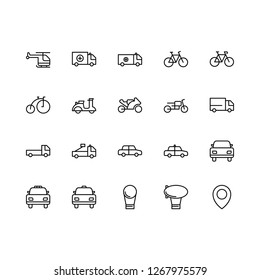 Top 20 Simple Set of Public Transportation Related Vector Line Icons. Contains such Icons as Car, Zeppelin, Bike, and more. Editable Stroke. Pixel Perfect.