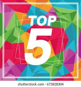 top 5, geometrical polygonal background