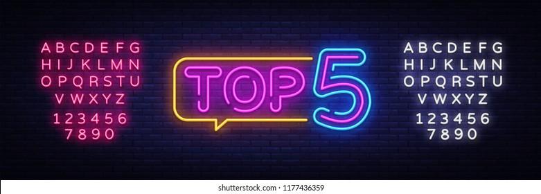 Top 5 Neon Text Vector. Top Five neon sign, design template, modern trend design, night neon signboard, night bright advertising, light banner, light art. Vector. Editing text neon sign