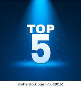 Top 5 text with illumination. Vector illustration.