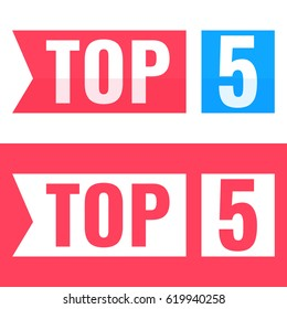Top 5. Vector flat illustration on white and red background.