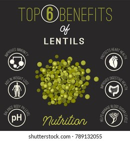 Top 6 benefits of kidney beans. Vector illustration with useful facts isolated on a dark grey background.