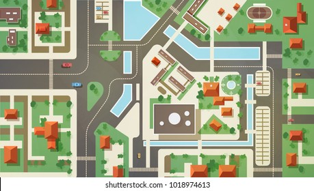 Top, aerial or bird's eye view or plan of modern city with commercial and living buildings, structures, roads, streets, river, canals and bridges. Beautiful urban landscape. Flat vector illustration.