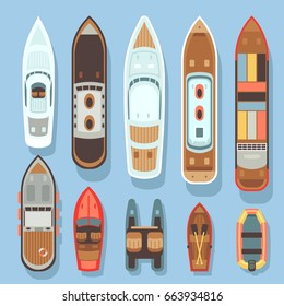 Top aerial view boat and ocean ships vector set. Sea boat and transport for travel on water illustration