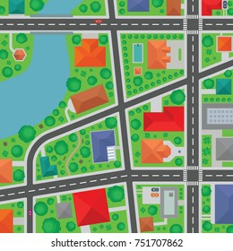 Top aerial view of a town neighborhood. Street map vector. Crosswalks, roads, trees and roofs of buildings illustration.