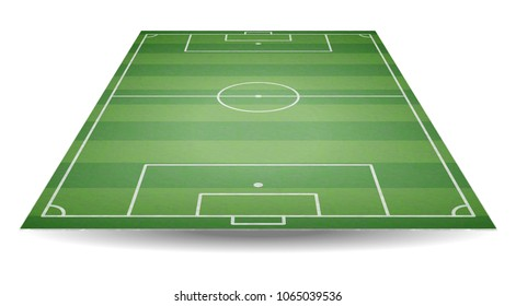 Top and back view of football field. Textured soccer field in perspective. Green playground background. Vector illustration.