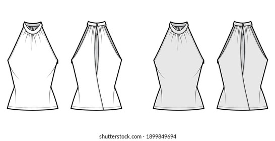 Top banded high neck halter tank technical fashion illustration with wrap, slim fit, tunic length. Flat apparel outwear template front, back, white, grey color. Women men unisex CAD mockup
