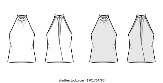 Top banded high neck halter tank technical fashion illustration with wrap, oversized, tunic length. Flat apparel outwear template front, back, white, grey color. Women men unisex CAD mockup