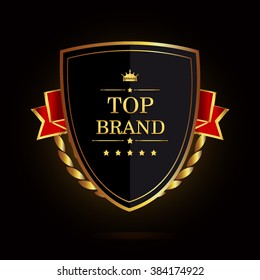 Top brand award label golden colored with ribbon and crown, vector illustration.