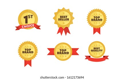 Top brand, best quality product and best seller badge. Certificate of fine product and trusted brand vector icon. Promotional label graphic element.