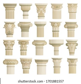 Top of column isolated cartoon set icon. Vector cartoon set icon antique pillar. Vector illustration top of column on white background.