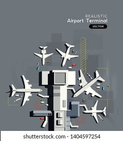 Top down aerial view of a busy airport terminal with parked commercial airplanes. Vector illustration.
